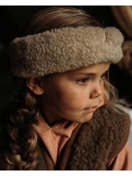 Alwero Kinder hoofdband van wol pluche - beige