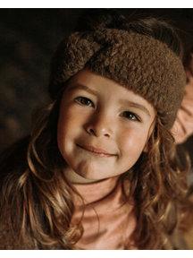Alwero Kinder hoofdband van wol pluche - bruin