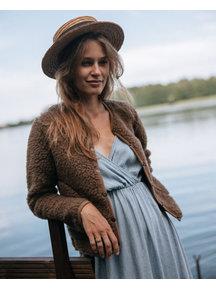Alwero Dames vest met drukknopen van wol - bruin