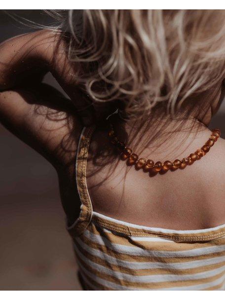 Amber Barnsteen kinder ketting 38cm - cognac raw