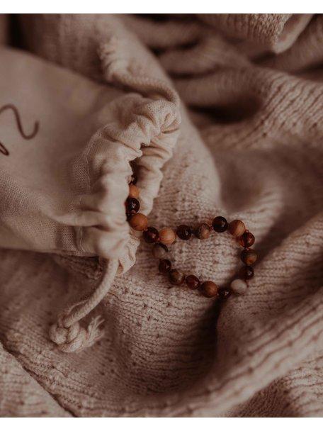 Amber Barnsteen kinder armband met edelstenen 16cm - agaat/cognac