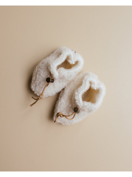 Alwero Slofjes van wol pluche (exclusief bij Ziloen) - naturel
