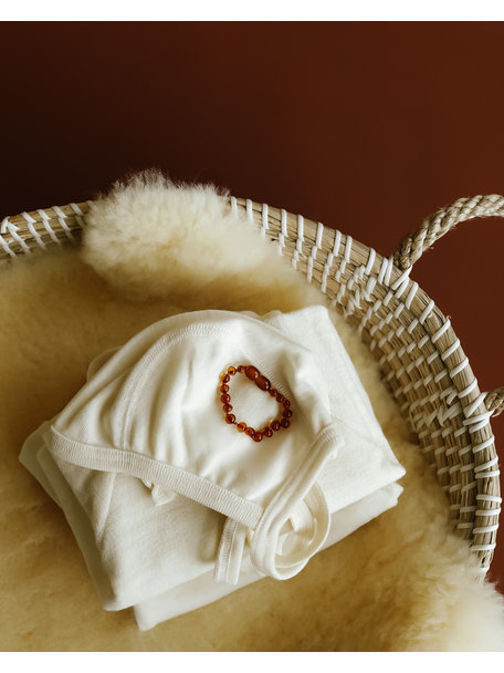 Amber Barnsteen newborn armbandje 12cm - cognac