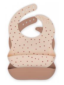 Konges Sløjd Bib slabbetjes (2-pack) - raspberry red dot / bark
