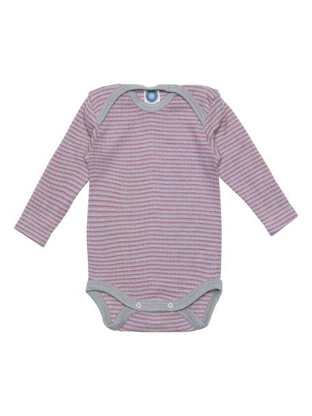 Cosilana Romper van wol/zijde/katoen gestreept - grijs/roze