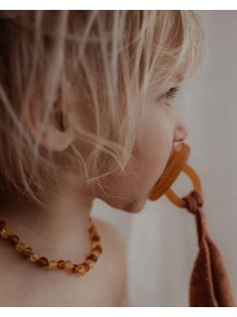 Amber Barnsteen baby ketting 32cm - cognac/honey raw