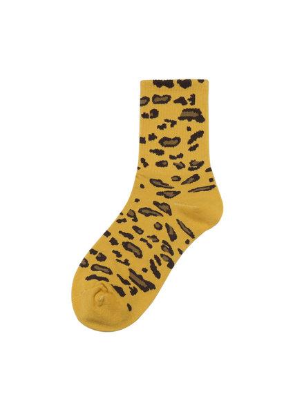 Sokken - Geel met panterprint