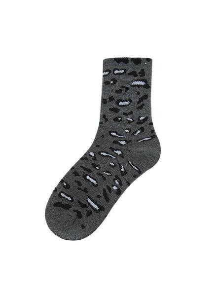 Sokken - Grijs met panterprint