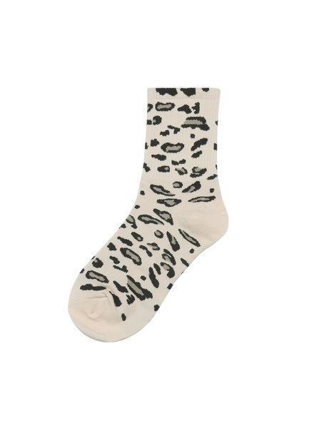 Sokken - wit met panterprint
