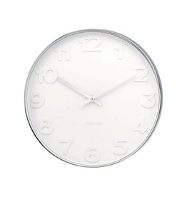Karlsson Wall Clock Mr White Numbers Steel - KA4381