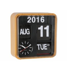 Karlsson Wall Clock Mini Flip Bamboo Printed Casing - KA5364WD