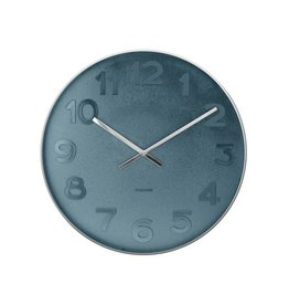 Karlsson Wall Clock Mr Blue Numbers Steel Polised - KA5633