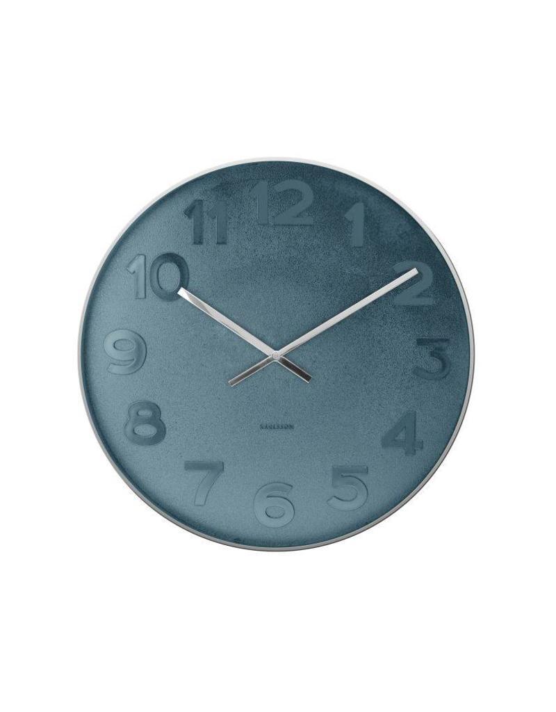 Karlsson Wall Clock Mr Blue Numbers Steel Polised - KA5633