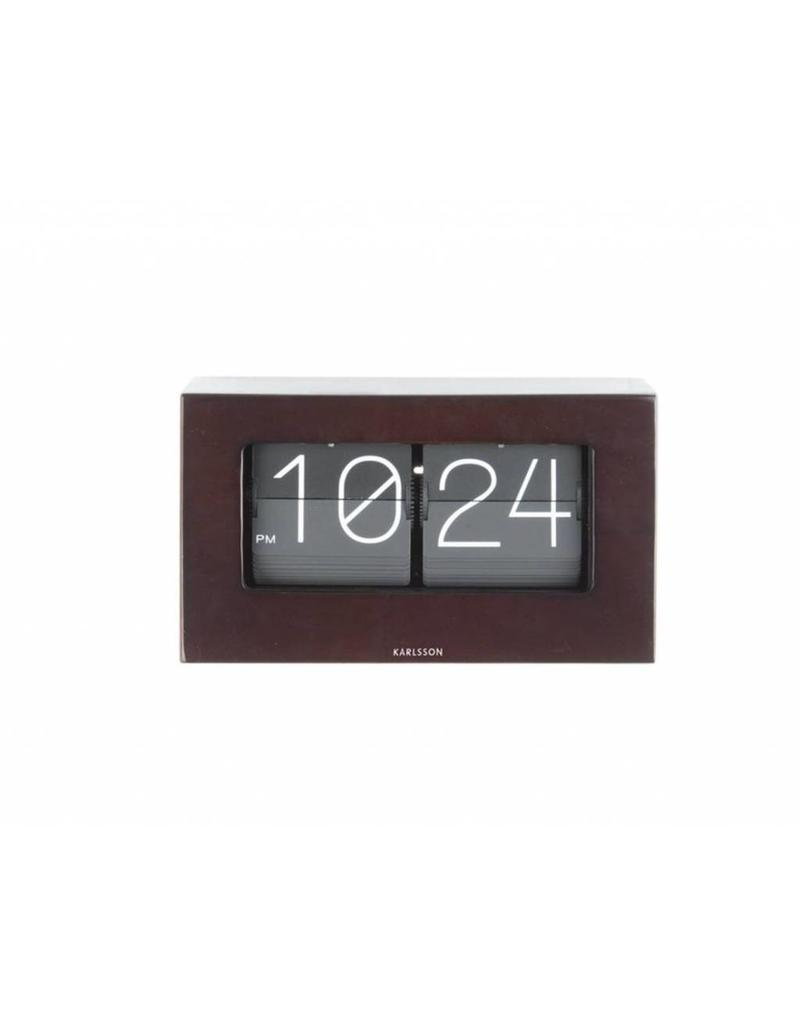 Karlsson Table Clock Boxed Flip Dark Wood - KA5620DW