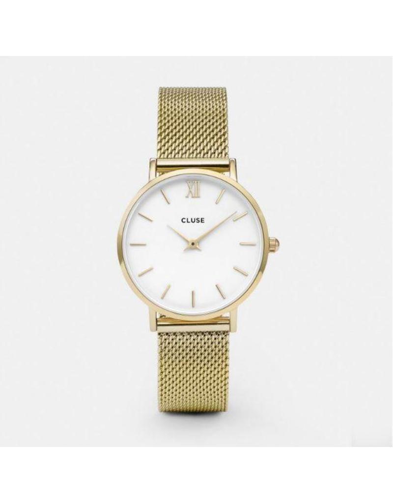 Cluse Minuit Mesh Gold/White - CL30010
