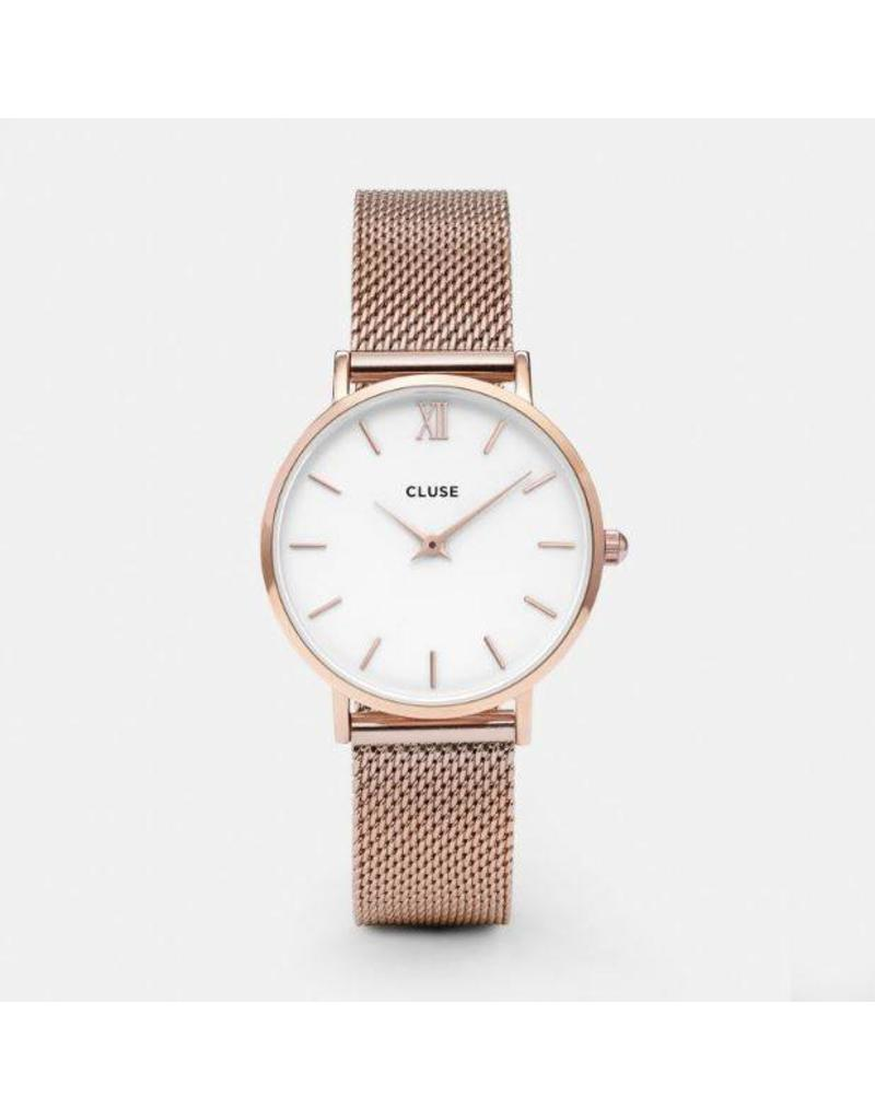 Cluse Minuit Mesh Rose Gold/White - CL30013
