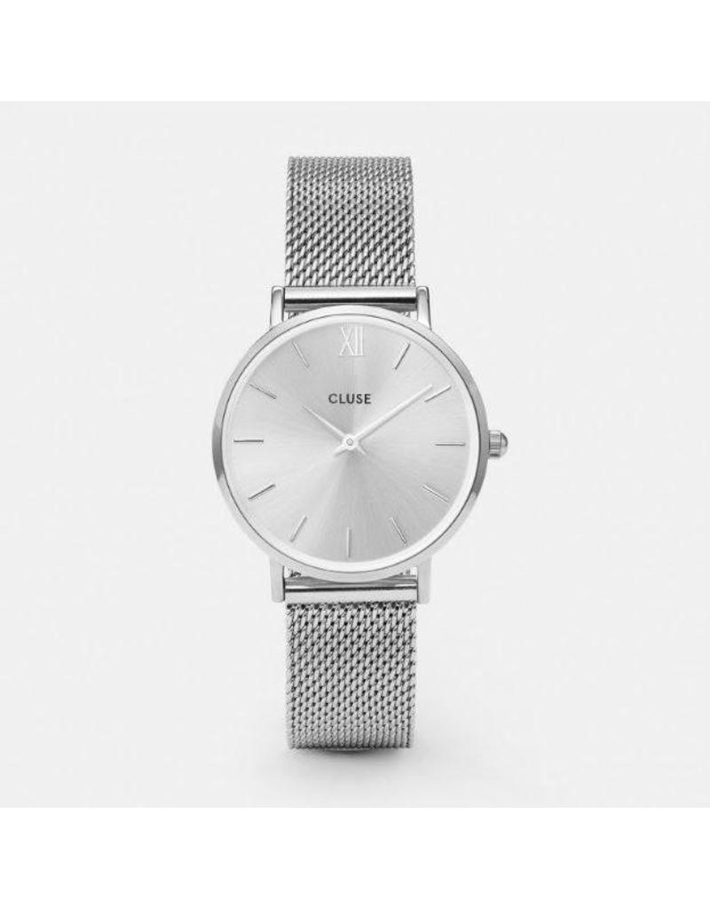 Cluse Minuit Mesh Full Silver  - CL30023