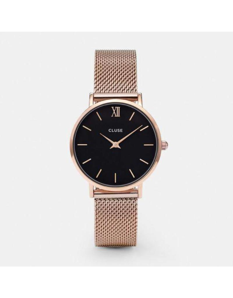 Cluse Minuit Mesh Rose Gold/Black  - CL30016