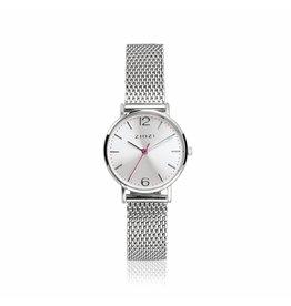 Zinzi horloges Lady Watch Zilverkleurige Wijzerplaat Zilverkleurige Mesh Band - ZIW602M
