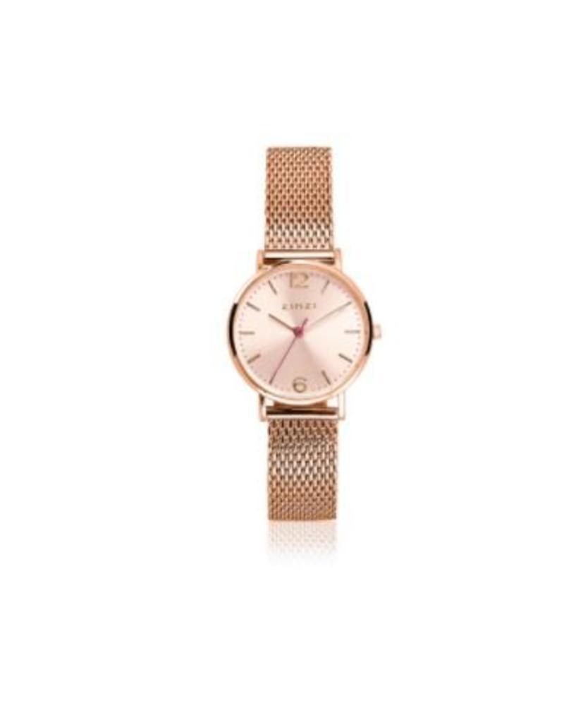Zinzi horloges Lady Watch Rosekleurige Wijzerplaat Rosekleurige Mesh Band - ZIW605M