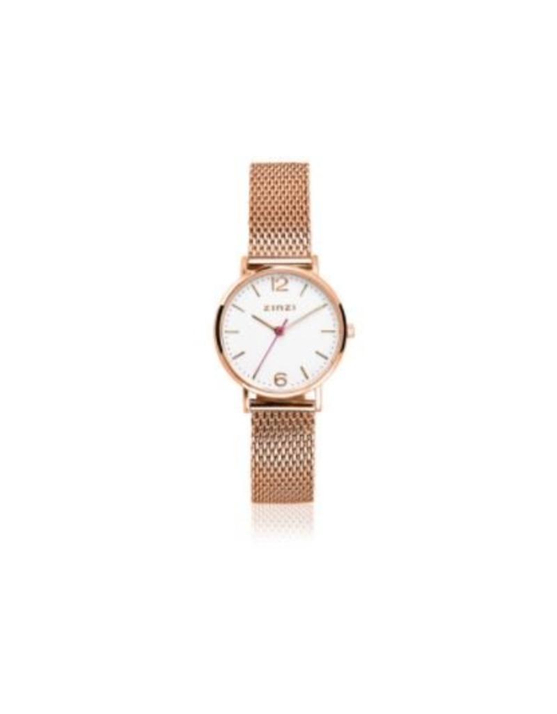 Zinzi horloges Lady Watch Witte Wijzerplaat Rose Kleurige Mesh Band - ZIW608M