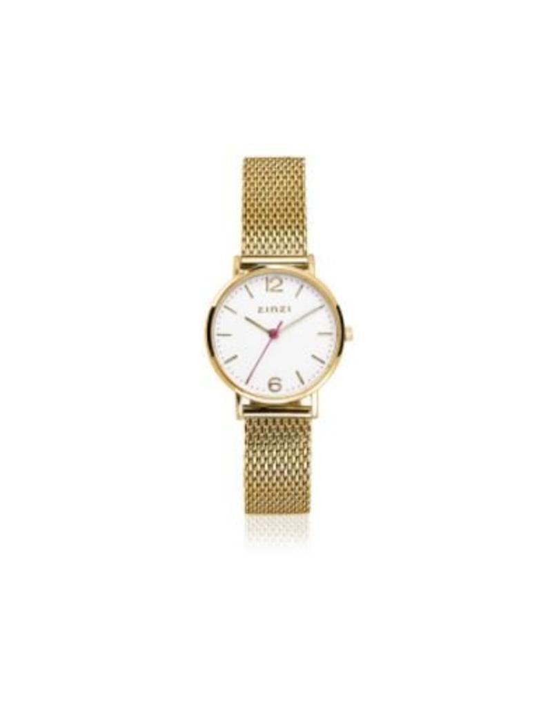 Zinzi horloges Lady Watch Witte Wijzerplaat Goudkleurige Mesh Band - ZIW607M