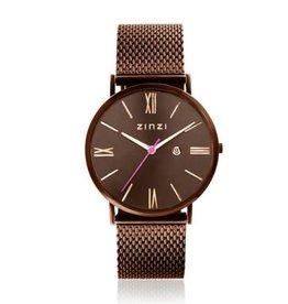 Zinzi horloges Roman Horloge Bruine Wijzerplaat Bruine Mesh Band - ZIW515M
