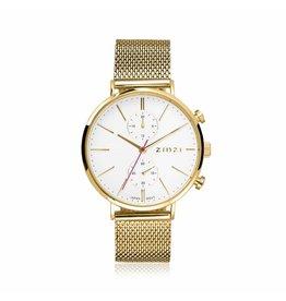Zinzi horloges Zinzi Gold Wite Wijzerplaat Goudkleurige Band - ZIW707M