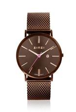 Zinzi horloges Retro Horloge Bruine Band Bruine Wijzerplaat - ZIW415M