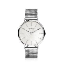 Zinzi horloges Zinzi Retro Horloge MOP Wit Wijzerplaat / STL. Mesh bnd - ZIW417M