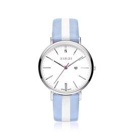 Zinzi horloges Retro Horloge Zilver Wijzerplaat Wit/Blauw Band - ZIW406BS