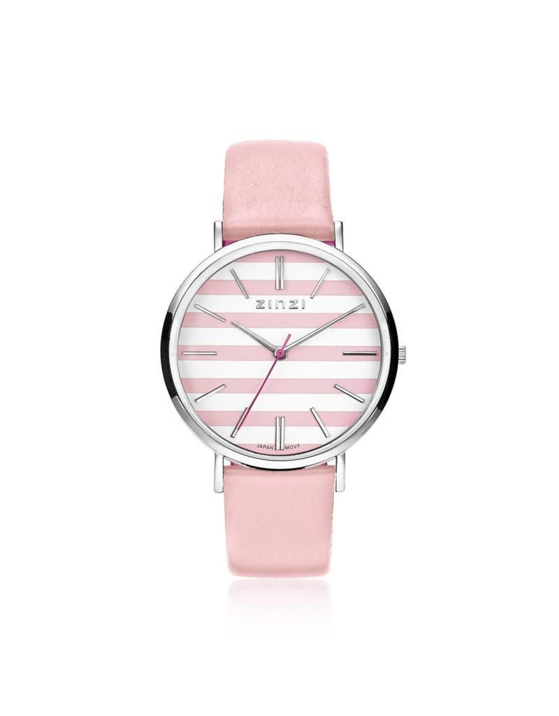 Zinzi horloges Retro Horloge Zilver Wijzerplaat Roze/Witte Band - ZIW419R