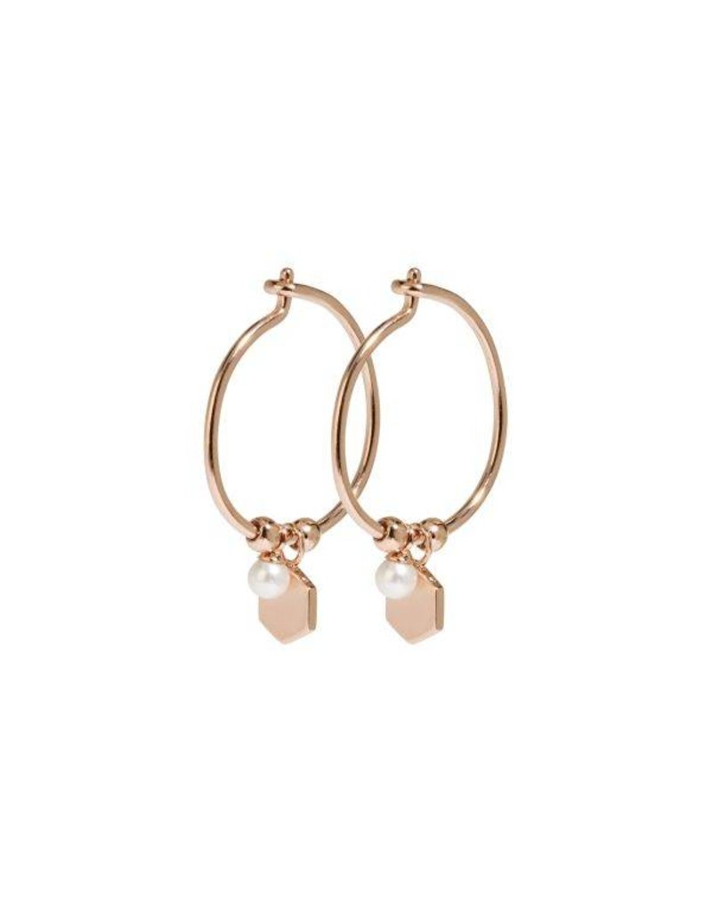 Cluse Essentielle Rose Gold Hexagon and Pearl Charm Hoop Earrings CLJ50002 - CLJ50002