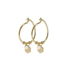 Cluse Essentielle Gold Hexagon and Pearl Charm Hoop Earrings CLJ51002 - CLJ51002
