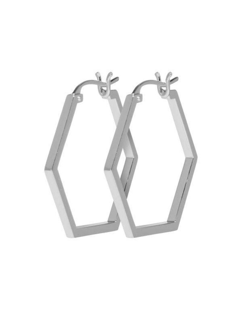 Cluse Essentielle Silver Hexagonal Hoop Earrings CLJ52004 - CLJ52004