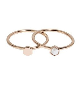 Cluse Idylle Rose Gold Solid And Marble Hexagon Set of Two Rings 54 CLJ40001-54 - CLJ40001-52