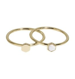 Cluse Idylle Gold Solid And Marble Hexagon Set of Two Rings 52 CLJ41001-52 - CLJ41001-52