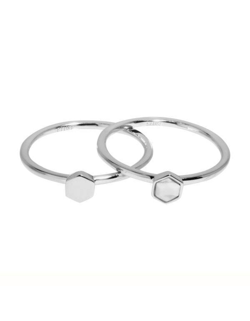 Cluse Idylle Silver Solid And Marble Hexagon Set of Two Rings 52 CLJ42001-52 - CLJ42001-52