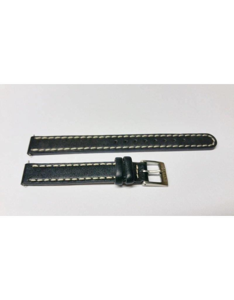 Mondaine 12mm-  Zwart leer- Stiksel- Gesp mat - BM12