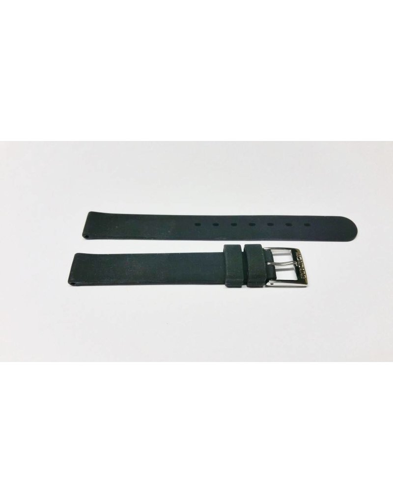 Mondaine 12mm-  Zwart Rubber- Gesp Glans - BM20065