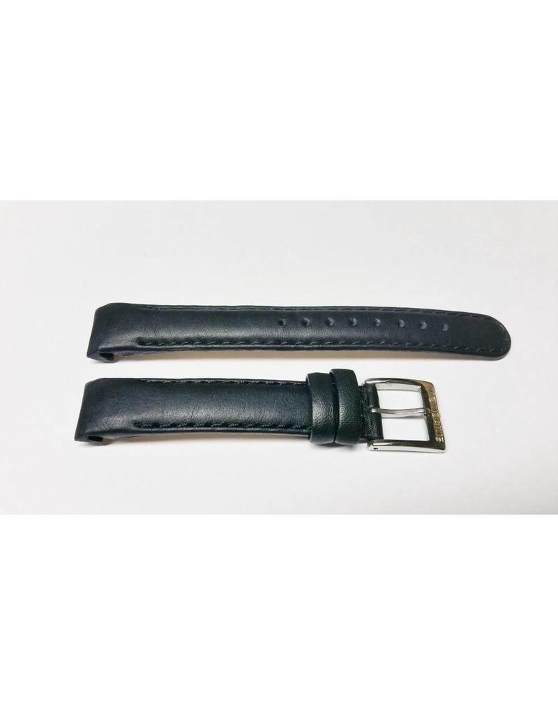 Mondaine 12mm- Zwart Leer- Stiksel- Gesp Glans - BM12fout