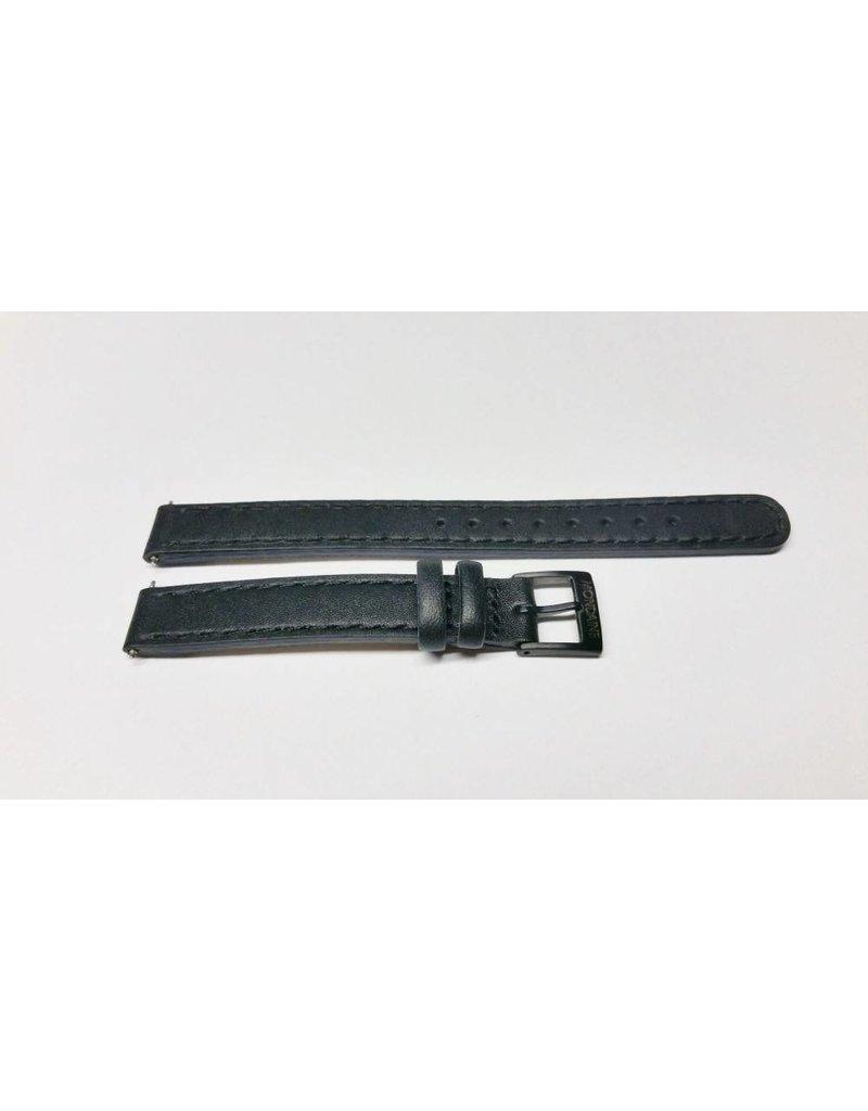 Mondaine 12mm- Zwart Leer Stiksel- Gesp Zwart  - BM12 gesp zwart
