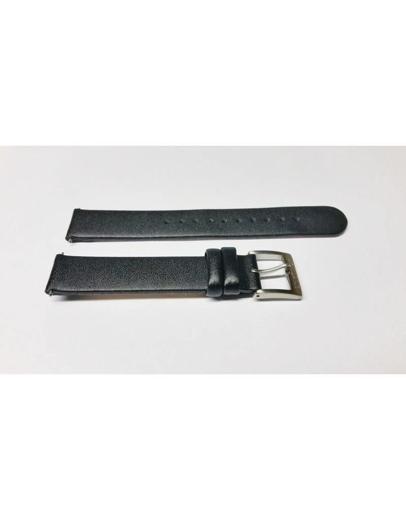Mondaine 16mm- Zwart leer- Gesp mat - BM20026