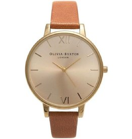 Olivia Burton Big Dial Tan & Gold - OB13BD09