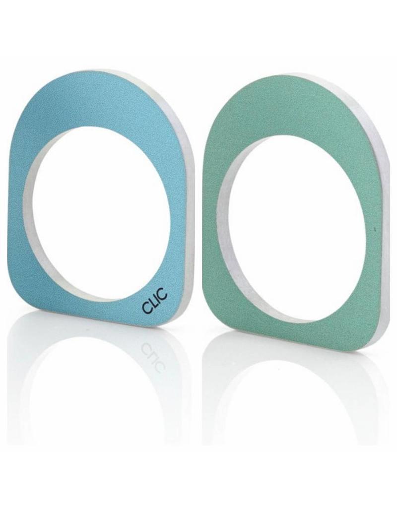 Clic Aluminium Ring Oval Blue/Green - R254.2B