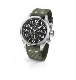 TW Steel Volante 45MM Steel, Chrono, Date, Black Dial, Army Green - VS23