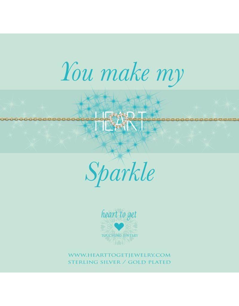 Heart to get Bracelet Open Heart Gold Sparkle - B239OPZ15G