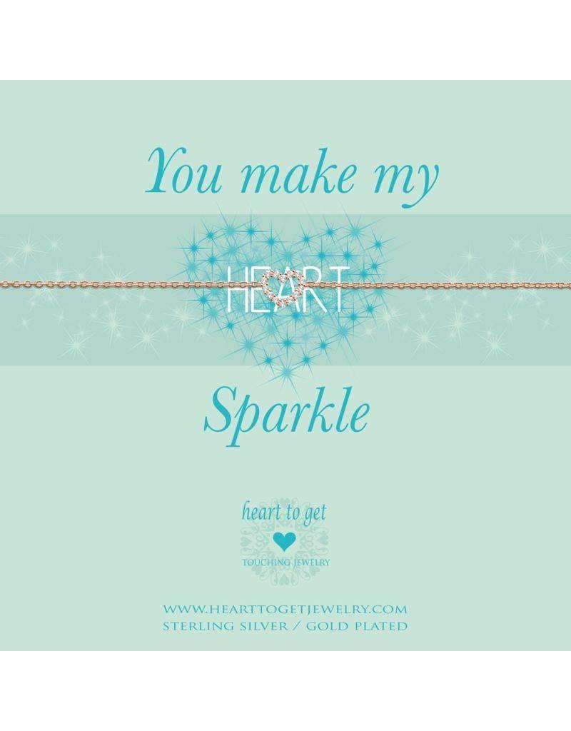 Heart to get Bracelet Open Heart Rose Sparkle - B239OPZ15R