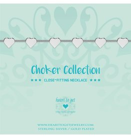 Heart to get Choker Silver With hearts - BO247CHHA17S