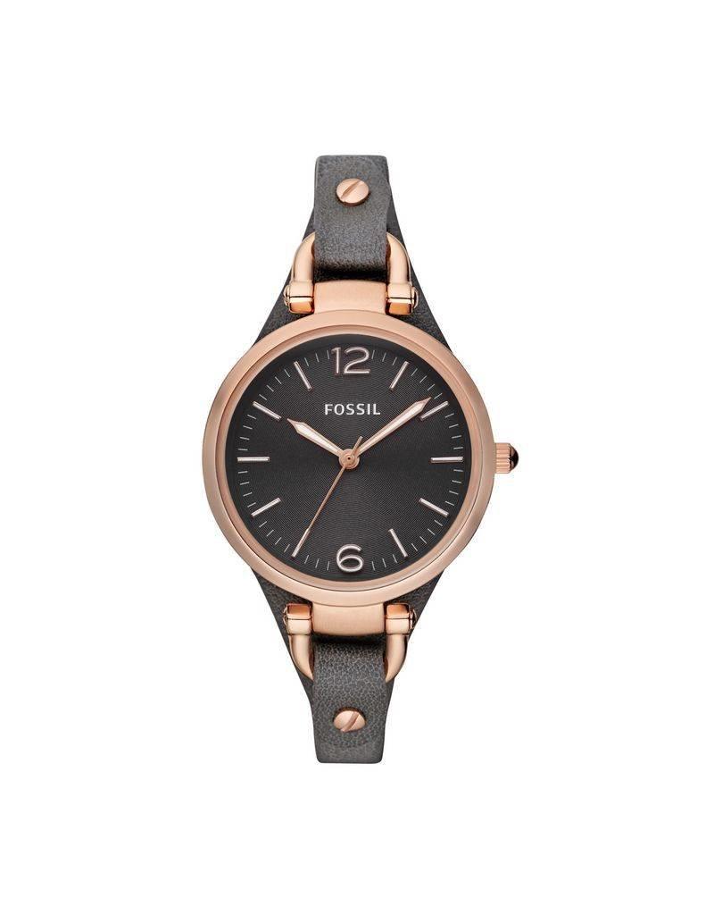 Fossil horloges Georgia Horloge Leer – Grijs en Rosegoudkleur - es3077